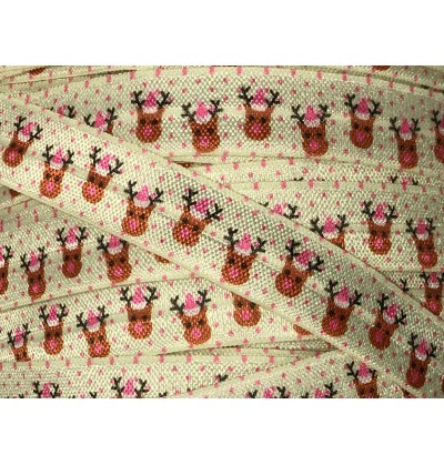 "Ivory w/ Reindeer 5/8"" Fold Over Elastic"