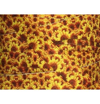 "Yellow w/ Sunflowers 5/8"" Fold Over Elastic"