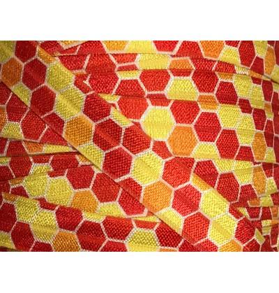 "Hexagons Yellow/Orange/Red 5/8"" Fold Over Elastic"